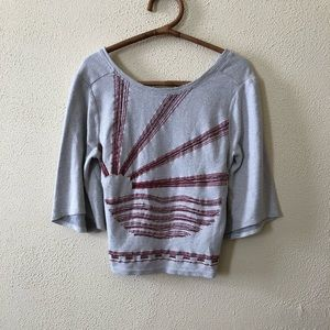 Anthropologie Beaded Wide Sleeve Top S